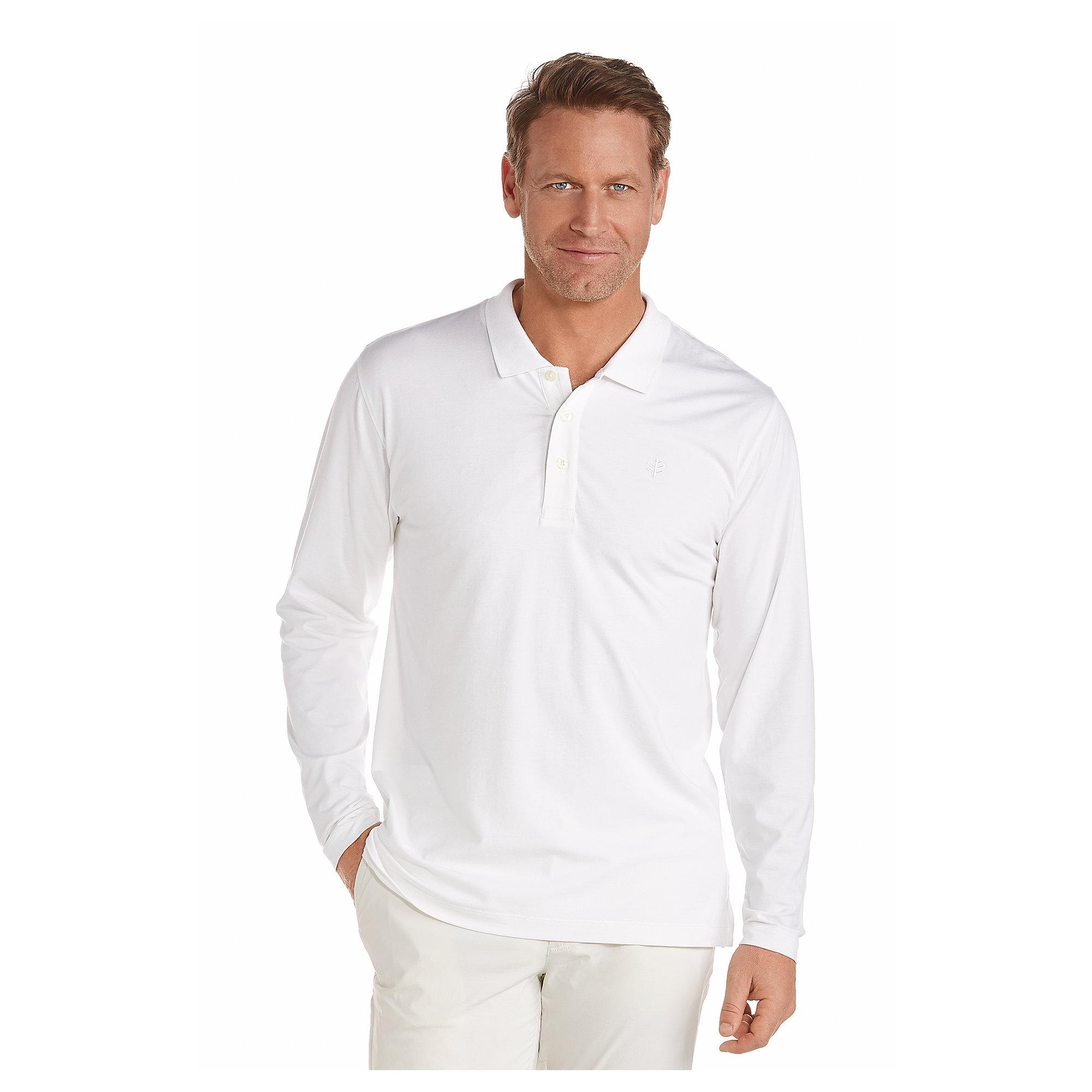 Bamboo Cotton Long Sleeve Mens Grey Polo UPF50