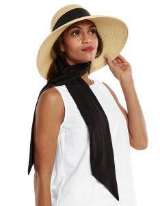 Coolibar---UV-Floppy-Hat-with-Scarf-for-women---Stella---Natural/Black