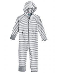 Coolibar---UV-Onesie-with-hood-for-babies---LumaLeo-Bodysuit---Grey/White