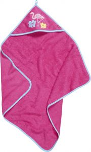 Playshoes---Bathtowel-with-hood-for-babies---Flamingo---Pink