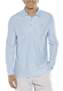 Coolibar---Sport-Longsleeve-UV-Polo-for-men---Stripe---Vintage-Blue/White