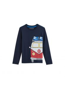 Coolibar - UV shirt for kids - vintage camper - dark blue - Front