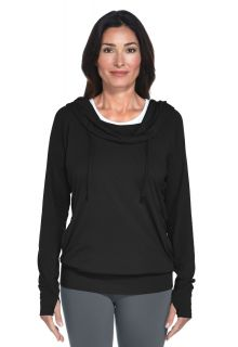 Coolibar - Cowl Neck Pullover - Black - Front