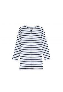 Coolibar - UV-tuniek voor meisjes - Wit / Navy blauwe strepen - Front
