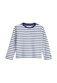 Coolibar---UV-Shirt-for-toddlers---Longsleeve---Coco-Plum---White/Navy