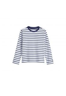 Coolibar - UV shirt for children longsleeve - White / navy stripes - Front