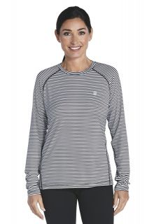 Coolibar---Long-sleeve-UV-Sport-Tee---black/white-stripe