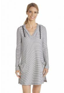 Coolibar---UV-Dress-with-V-neck-and-hood-women---White/Black