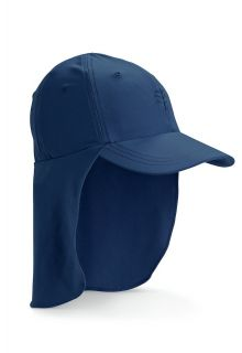 Coolibar---UV-sun-cap-for-children-with-neck-flap---Navy-blue