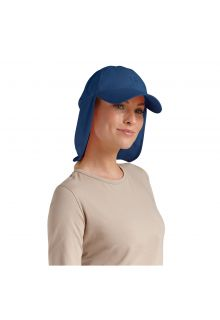 Coolibar - UV sun cap with neck flap unisex- Navy blue - Front
