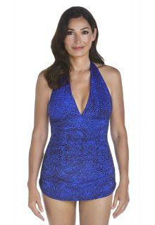 Coolibar---UPF-50+-Women's-Ruche-Halter-Swimsuit---Blue-Floral-Motif