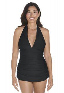 Coolibar---UPF-50+-Women's-Ruche-Halter-Swimsuit---Black