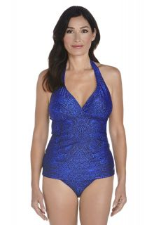 Coolibar---UPF-50+-Women's-Halter-Tankini-top-UV-Swimwear--Blue-Floral-Motif