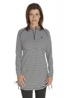 Coolibar---UV-Swim-Shirt-for-women---Lawai-Ruche-Tunic---Black/White