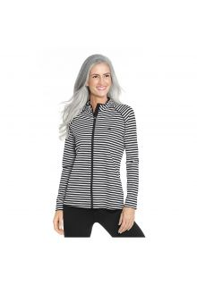 Coolibar - UV swim jacket for women - Black and white stripes - Front