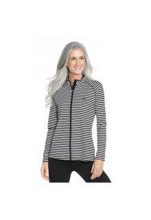 Coolibar - UV swim jacket for women - Black and white stripes - Front