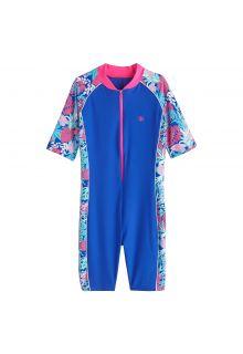 Coolibar - UV-zwempakje voor kinderen - Tropisch blauw - Front