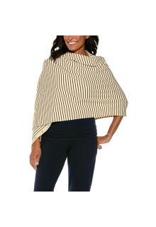 Coolibar---UV-resistant-convertible-shawl---Cream/Black-striped