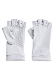 Coolibar - UV resistant fingerless gloves - White - Front