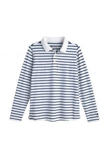 Coolibar---UV-Polo-Shirt-for-kids---Longsleeve---Coppitt---White/Navy