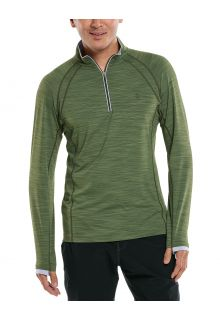 Coolibar---UV-Half-zip-Rash-Guard-for-men---Ultimate---Olive