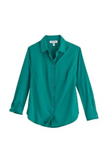 Coolibar---UV-Shirt-for-women---Rhodes-Blouse---Emerald-Teal