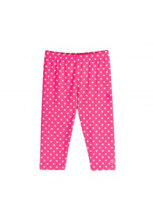 Coolibar - UV capri swim leggings for kids - pink/white polka dots - Front