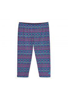 Coolibar - UV capri swim leggings for kids - blue/pink - Front