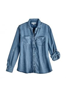 Coolibar---UV-Shirt-for-women---Peninsula-Blouse---Light-Indigo