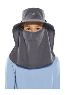 Coolibar---UV-Sun-cap-with-face-and-neck-flap-for-kids---Stevie-Ultra---Carbon