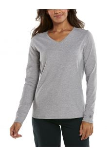 Coolibar---UV-Shirt-for-women---V-Neck-Longsleeve---Morada---Grey