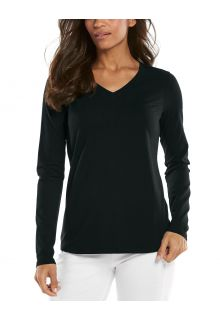 Coolibar---UV-Shirt-for-women---V-Neck-Longsleeve---Morada---Black