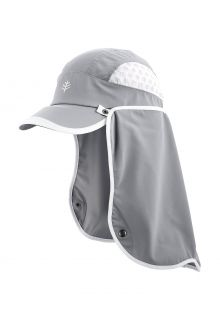 Coolibar---UV-Sport-Cap-with-neck-cover-for-adults---Agility---Steel-Grey/White