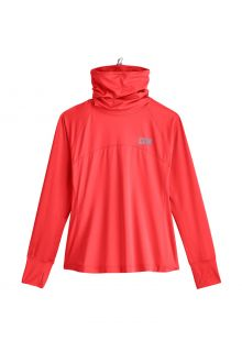 Coolibar---UV-Swim-Shirt-with-neck-gaitor-for-women---Paros---Hot-Coral