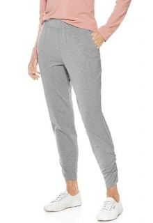 Cooliar - Casual ruched UV Pants for women - Grey - Front
