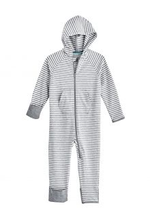 Coolibar---UV-Onesie-with-hood-for-babies---LumaLeo-Bodysuit---Grey/White