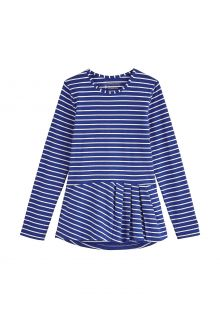 Coolibar---UV-Shirt-for-girls---Longsleeve---Aphelion-Tee---Sapphire-Blue/White