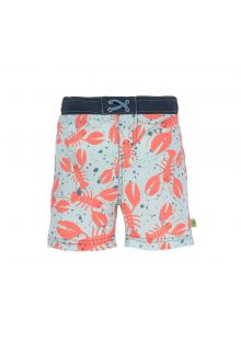 Lässig - Boys' UV swim shorts with nappy - Lobster - blue / orange - Front