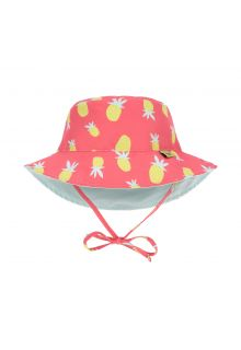 Lässig---Girl's-UV-hat-reversible---Pineapple---coral-/-light-blue