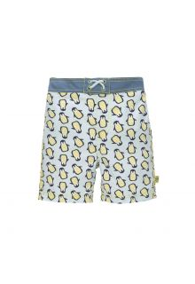 Lässig - Boys' UV swim shorts with nappy - Penguin - light blue - Front