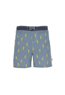 Lässig - Boys' UV swim shorts with nappy - Cactus - blue - Front
