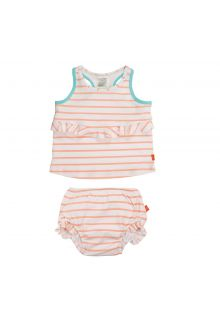 Lässig - Tankini for girls Striped - White / Peach / Blue - Front