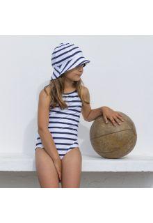 Petit Crabe - UV Bathing suit - Striped - White/Navy - Front