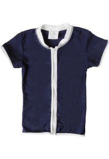 Snapper Rock - UV Shirt Kids Short Sleeve- Navy Zip Thru - 0