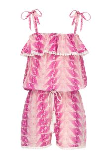 Snapper Rock - Fushia Feather Jumpsuit - Front