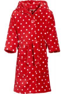 Playshoes - Fleece Bathrobe with hoodie - Stippen Red - Front