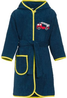 Playshoes - Bathrobe with hoodie for boys - Firetruck - Front