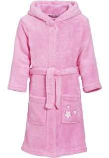 Playshoes - Fleece Bathrobe with hoodie - Flowers Lightpink - Front