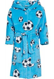 Playshoes - Fleece Bathrobe with hoodie - Football Blue - Front
