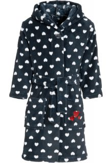 Playshoes - Fleece bathrobe with hoodie for girls - hearts - blue - Front